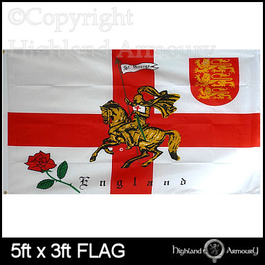 5' x 3' FLAG Rose Lion England English St George Cross