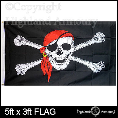 5' x 3' FLAG Pirate Skull and Crossbones Bandana Large